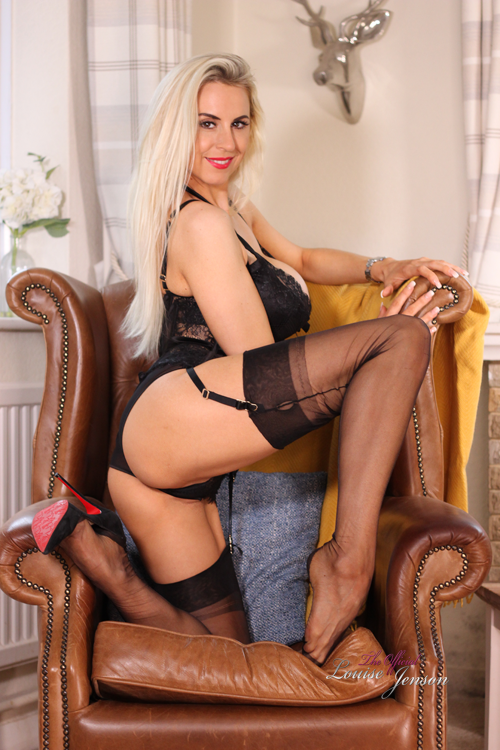 Black Lingerie In her Chair